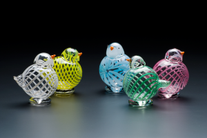 5 Glass Bird Ornaments